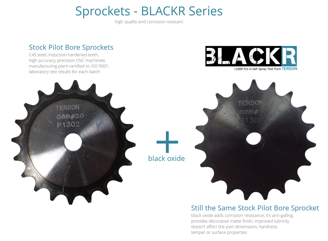 black oxide pilot bore sprockets, blackr series from terson